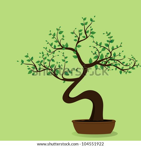 Bonsai Tree On The Green Bacground, Vector Image - 104551922 ... - Bonsai Tree Art