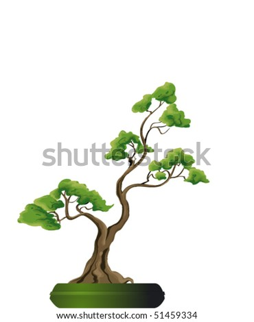 Bonsai Tree Vector Illustration. Nature Art - 51459334 : Shutterstock