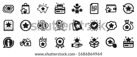 Bonus card, Redeem gift and discount coupon signs. Loyalty program icons. Lottery ticket, Earn reward and winner gift icons. Shopping bag, loyalty card and lottery present. Vector