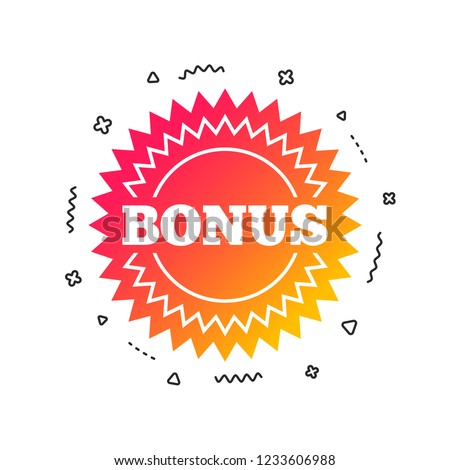 Bonus sign icon. Special offer star symbol. Colorful geometric shapes. Gradient bonus icon design.  Vector