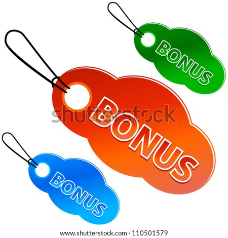 Bonus tags with price list on a white background (vector)