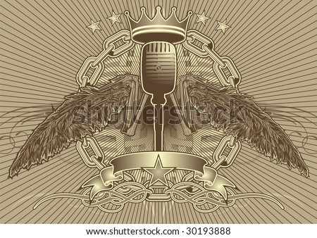 stock vector : Bony wing tattoo style motif featuring a microphone.