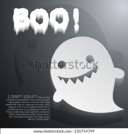 Boo cute ghost cartoon - Vector illustration