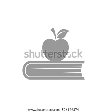 book and apple vector icon.