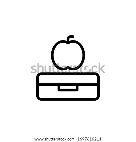 Book and apple vector icon in linear, outline icon isolated on white background