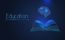book and brain, the concept of teaching and acquiring knowledge in courses, studies. advanced training, graduation, completion of training.isolated,plexus, wireframe, vector,low poly,dots