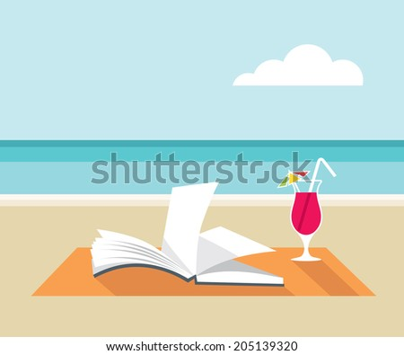 book and cocktail on the beach