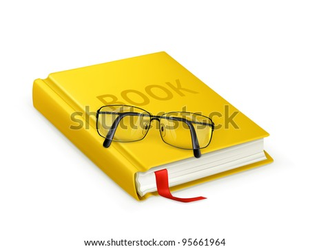 Book and glasses, vector