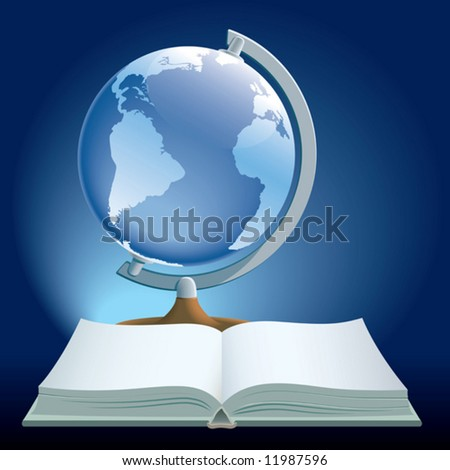 Book and globe on a blue background.