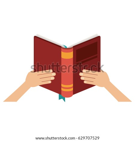 Book and hands icon. Education literature read and library theme. Isolated design. Vector illustration