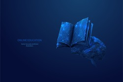 Book and human brain. Low poly wireframe online education blue background or concept with opened book. Digital Vector illustration. Online reading or courses. Abstract polygonal image of notebook
