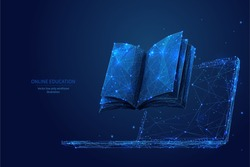 Book and laptop. Low poly wireframe online education blue background or concept with opened book. Digital Vector illustration. Online reading or courses. Abstract polygonal image of notebook on laptop