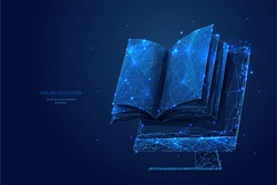 Book and monitor. Low poly wireframe online education blue background or concept with opened book. Digital Vector illustration. Online reading or courses. Abstract polygonal image of notebook on pc.