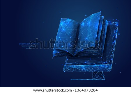 book and monitor low poly