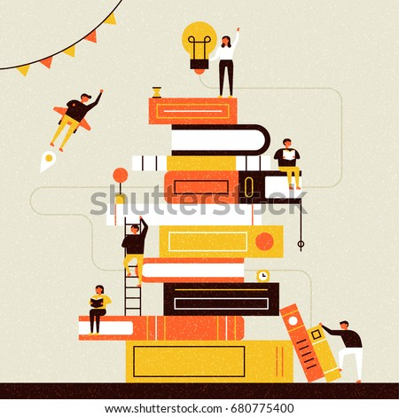 book and people poster vector illustration flat design - Shutterstock ID 680775400