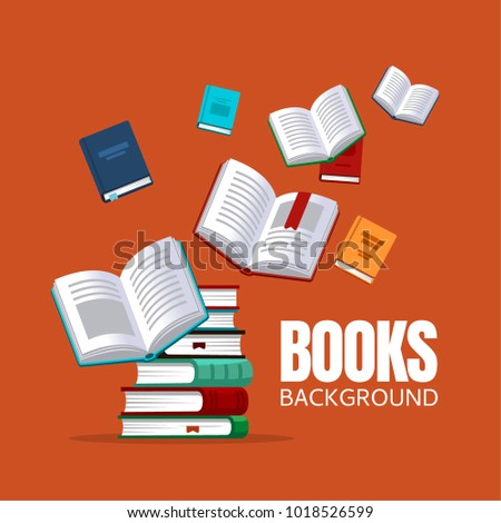 Book background concept for banners, posters, flyers and so on. Vector illustration in flat style.