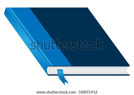 Book. Blue and closed with a bookmark isolated on a white background. Ample space to add copy text on the cover. Raster also available.