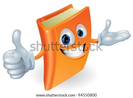 Book cartoon character mascot giving a thumbs up