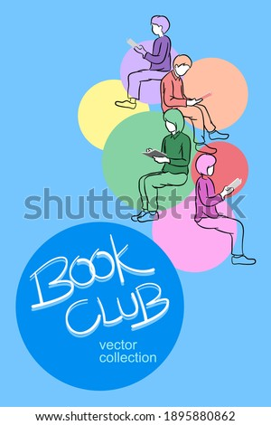 Book club reading lover poster design, books and reader leisure  Сток-фото ©