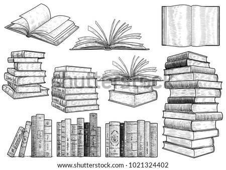 Book collection illustration, drawing, engraving, ink, line art, vector