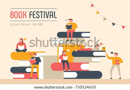 book festival poster concept of a small character reading a book and a huge book piled up.vector illustration flat design