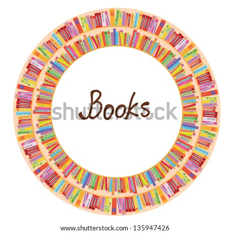 Book frame circle design with many items