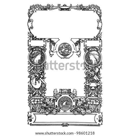 "Book Frontispiece - vintage engraved illlustration - ""Decor par la plante"" by Alfred Keller - Ed.Ernest Flammarion - 1904 Paris"