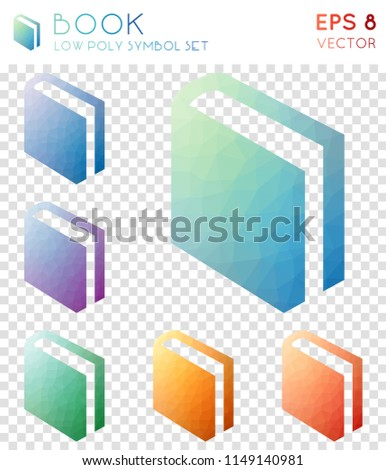 Book geometric polygonal icons. Alluring mosaic style symbol collection. Dramatic low poly style. Modern design. Book icons set for infographics or presentation.