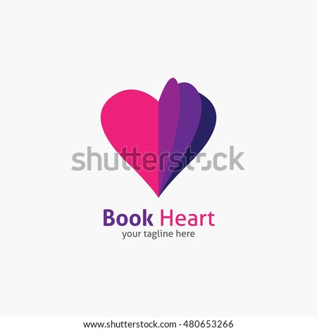 book heart symbol logo icon
