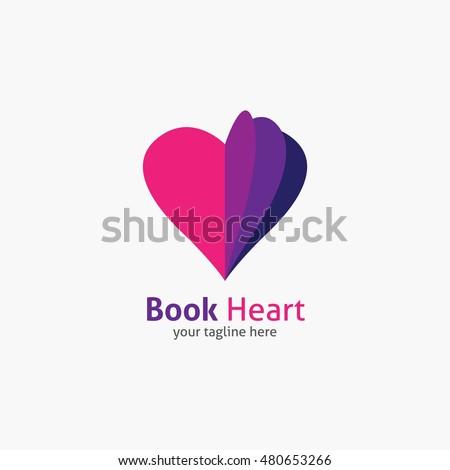book heart symbol logo icon