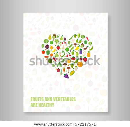 Book heart vegetables fruits, vegetables, organic. Flat vector illustration.