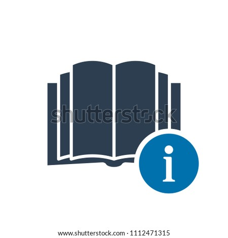 Book icon, education icon with information sign. Book icon and about, faq, help, hint symbol. Vector illustration