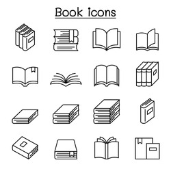 Book icon set in thin line style
