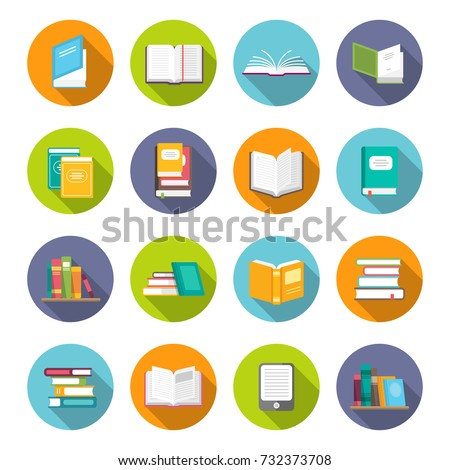book icon set. learning facts ...