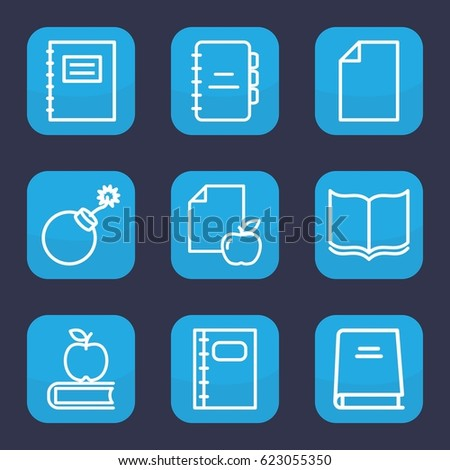 book icon set of 9 outline