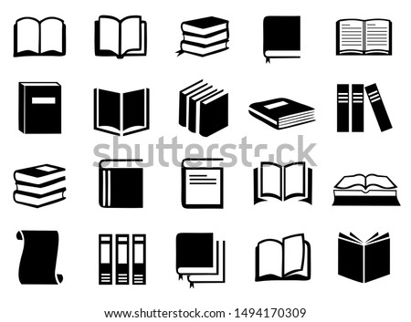 Book icon set vector, Book symbol illustration collection in black and white color design