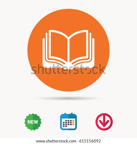 Book icon. Study literature sign. Education textbook symbol. Calendar, download arrow and new tag signs. Colored flat web icons. Vector