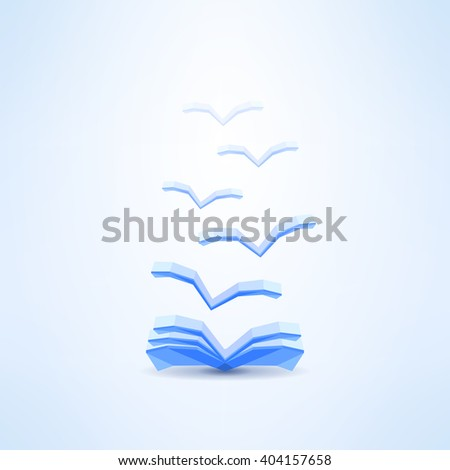 book icon with seagulls made in