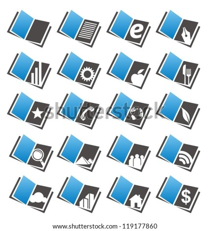 Book icons and symbols set showing different books categories and themes