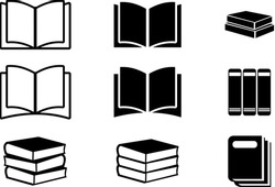Book Icons Set, Book Icons Set on Isolated White Background