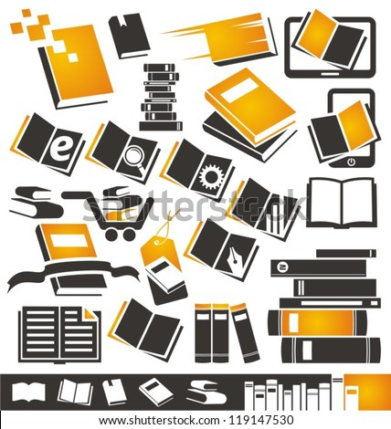 Book icons set Collection of book symbols signs and icons
