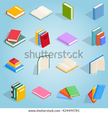 book icons set in isometric 3d...