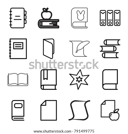 book icons set of 16 editable