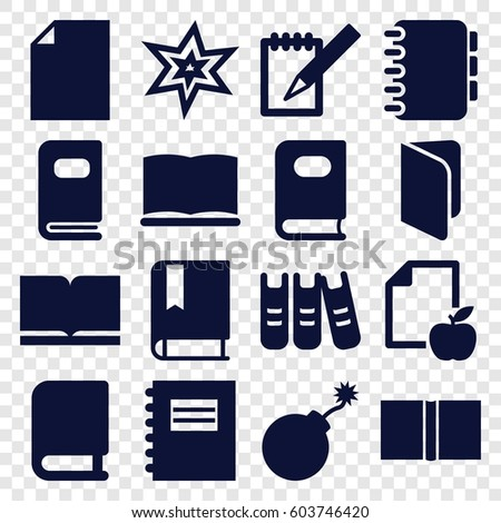 book icons set set of 16 book