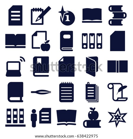 book icons set set of 25 book