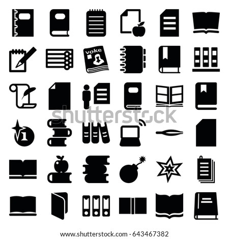 book icons set set of 36 book