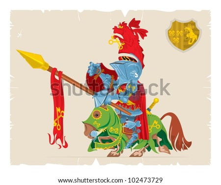 Book illustrations, 41. Mounted knight with the dragon on the arms, vector