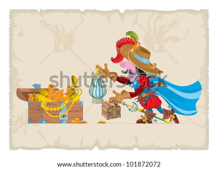 Book illustrations, 30. Musketeer and treasures, vector