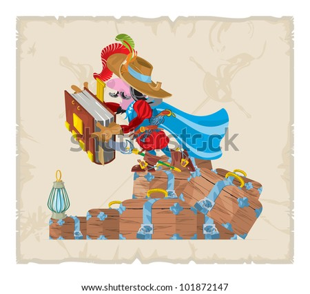 Book illustrations, 31. Musketeer with a book and chests, vector