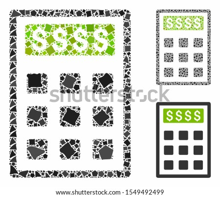 Book-keeping calculator composition of bumpy pieces in variable sizes and color hues, based on book-keeping calculator icon. Vector abrupt pieces are composed into composition.